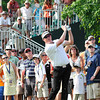 Charlie Beijan hits his tee shot on the 17th hole during the third round of The Greenbrier Classic. Beijan is tied for third at 11 under par.<br /> Rick Barbero/The Register-Herald