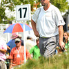 Troy Kelly waiting to putt the 17th hole during the third round of The Greenbrier Classic. Kelly is in second at 12 under par.<br /> Rick Barbero/The Register-Herald