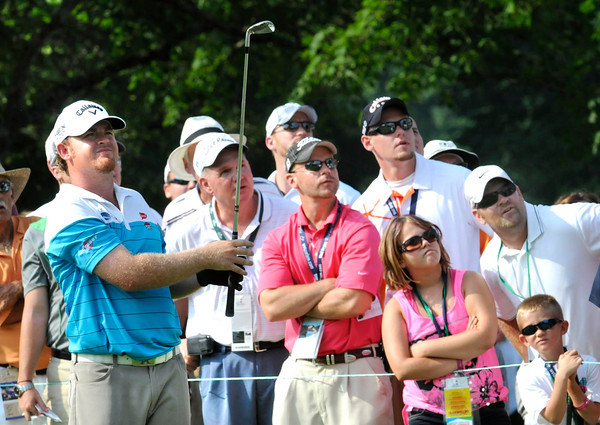 J.B. Homes watching his tee shot from the 17th hole during the third round of The Greenbrier Classic.<br /> Rick Barbero/The Register-Herald