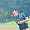 Marty Merritt hits out of a sand trap during the BNI Memorial Tournament on Saturday at Pipestem.