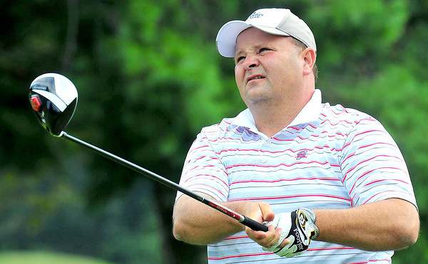 Kelly Shumate watches his drive during the BNI Memorial Tournament on Saturday at Pipestem.