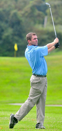 Ian Patrick, tees off during the BNI Memorial Tournament on Saturday at Pipestem.
