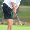 Greg McGraw watches his on the putt on the 11th green during the BNI Memorial Tournament on Saturday at Pipestem.