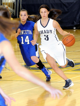F. BRIAN FERGUSON/THE REGISTER-HERALD=Princeton's Marissa Mullens guards Shady Spring's #3 during Thursday evening action.