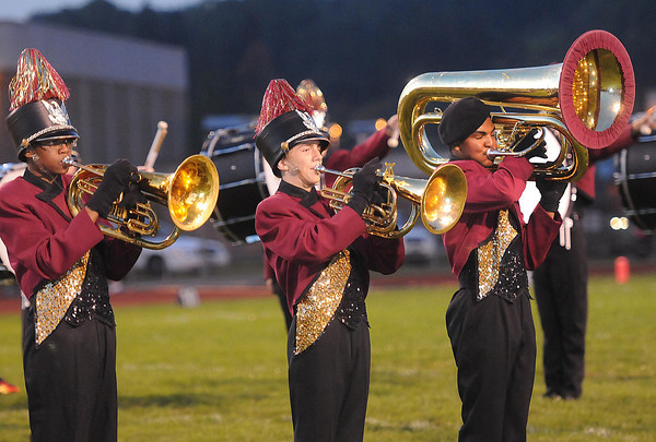 Woodrow Wilson marching band playing during the Huntington friday night at Van Meter Stadium in Beckley<br /> Rick Barbero/The Register-Herald