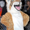 F. BRIAN FERGUSON/THE REGISTER-HERALD=The Summers County Bobcat mascot cheers the team on against Grafton on Friday evening in Brooks.