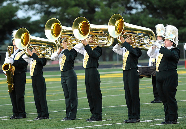 Greenbrier East band playing before the game against Shady Spring Friday night in Fairlea.<br /> Rick Barbero/The Register-Herald