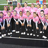 Greenbrier East cheerleaders wearing pink for Breast Cancer Awareness night during game against Spring Valley in Fairlea.<br /> Rick Barbero/The Register-Herald