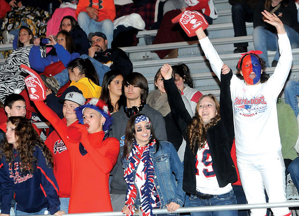 F. BRIAN FERGUSON/THE REGISTER-HERALD=Indy fans cheer on their Patriots as Independence took on Pikeview on Friday evening in Coal City.