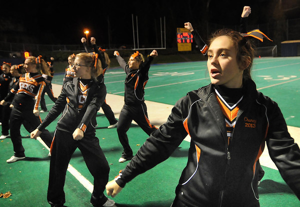 Richwood cheerleaders in game against Valley Friday night in Montgomery.<br /> Rick Barbero/The Register-Herald