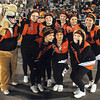 Summers Co. cheerleaders and the bobcat mascot pose during game against Valley Friday night at Summers Co. High School<br /> Rick Barbero/The Register-Herald