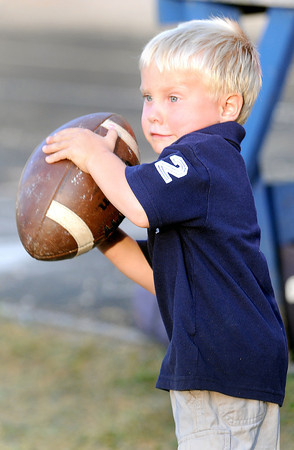 F. BRIAN FERGUSON/THE REGISTER-HERALD=Greenbrier West's ballboy in training, Kameron Parker, 4, keeps close trach of the game ball as Greenbrier West took on Richwood at Charmco.
