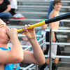 Michael Prater, 12th grader at Liberty High School blows a horn during game against Sissonville Friday night at Liberty High School.<br /> Rick Barbero/The Register-Herald