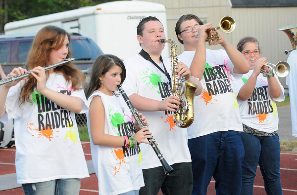 Liberty Raiders band playing during game against Sissonville Friday at Liberty High School.<br /> Rick Barbero/The Register-Herald