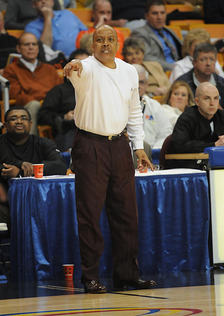 Woodrow Wilson coach Ron Kidd at the boys state quarter final game at the Charleston Civic Center Wednesday morning.<br /> Rick Barbero/The Register-Herald