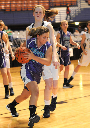 Shady Spring Middle School vs Eastern Greenbrier Middle School during the Big Atlantic Classic championship game at the Beckley-Raleigh County Convention Center.<br /> Rick Barbero/The Register-Herald