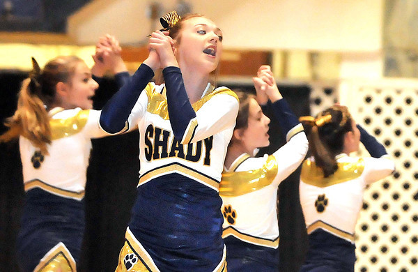 Summer Shields, cheerleader for Shady Spring Middle School, cheers during the Big Atlantic Classic game  between Park Middle school at the Beckley-Raleigh County Convention Center.<br /> Rick Barbero/The Register-Herald