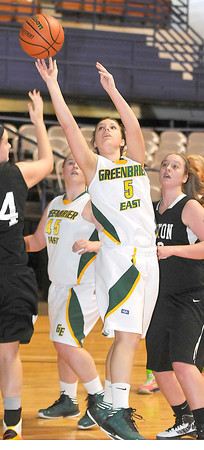 Greenbrier East Elizabeth Romeo going in for the shoot in there game the Preston Friday afternoon during The Big Atlantic Classic at the Beckley Convention Center. Photo by Chris Tilley