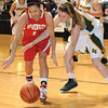 Bianca Andre, 33, of Greenbrier East, right, and Mariah Callen, of University High School, go after a loose ball during the Big Atlantic Classic Class AAA championship game at the Beckley-Raleigh County Convention Center.<br /> Rick Barbero/The Register-Herald