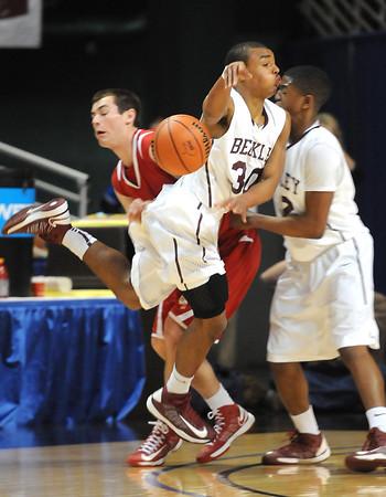 Woodrow Wilson vs Hurricane in the boys state quarter final game at the Charleston Civic Center Wednesday morning.<br /> Rick Barbero/The Register-Herald