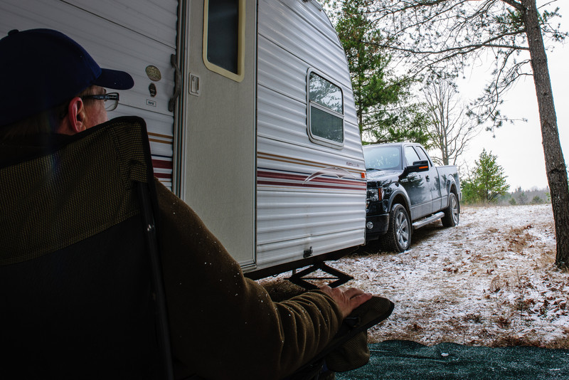Me, chillin', deer camp, 2012.  On the East Branch of the Black River, Montmorency County, Michigan.