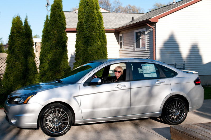 Pam in her new Ford Focus
