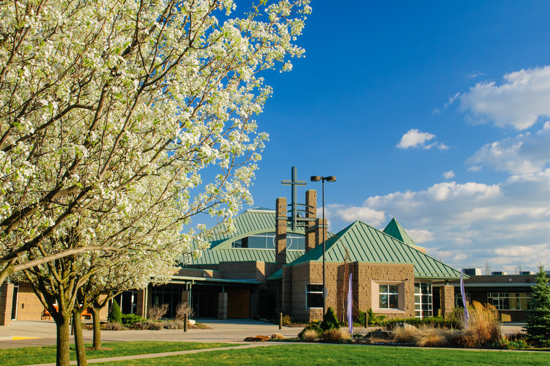 Bradford Pear trees in bloom at Christ the Redeemer Catholic Church, Orion, MI