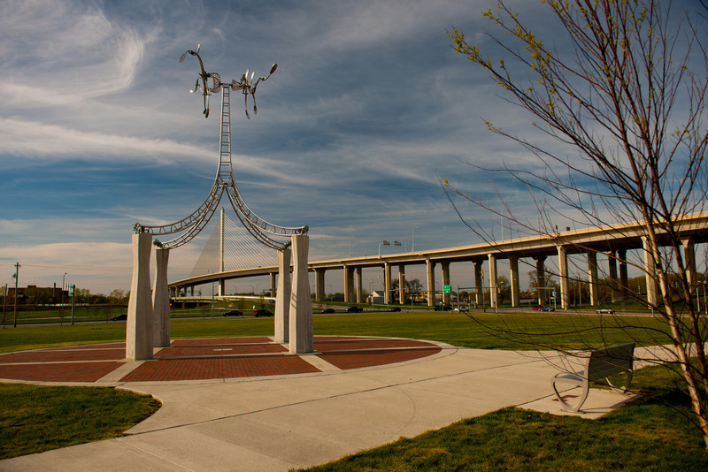 Toledo Skyway Bridge as viewed under an art installation in a park, Toledo, Ohio