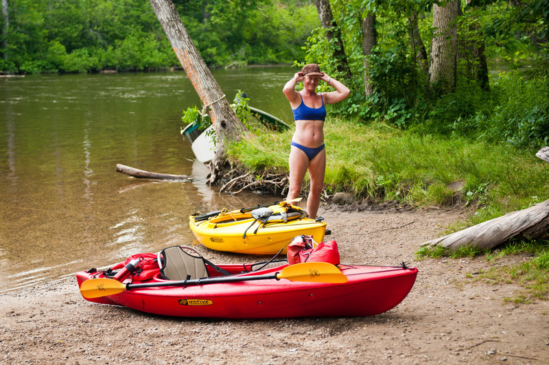 Pam on the Au Sable River, near Grayling, Michigan
