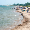 Oscoda, Michigan with the Au Sable breakwall in the distance.