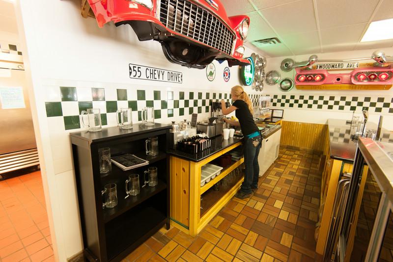 Making chocalate shakes at Tin Lizzie's, Mio, Michigan