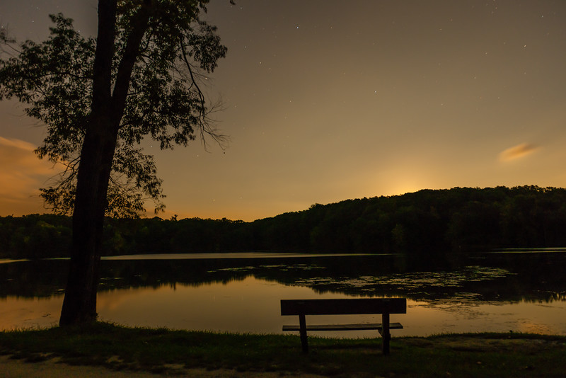 Moonrise.  Lake Minnawanna.  Metamora, Michigan.