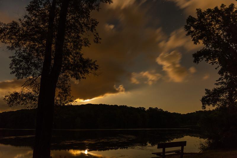 Moonrise.  Lake Minnawanna.  Metamora, Michigan.