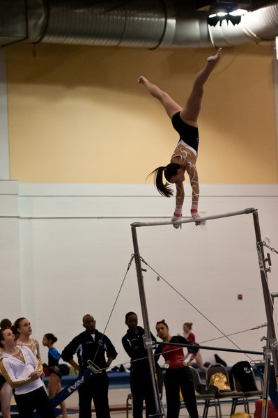 My niece Taylor at the Chicago Style gymnastics meet, February, 2012.  She broke her foot several weeks earlier and the bars was the only event in which she competed.