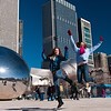 "Taylor and Emma in front of ""The Bean"" in Chicago"