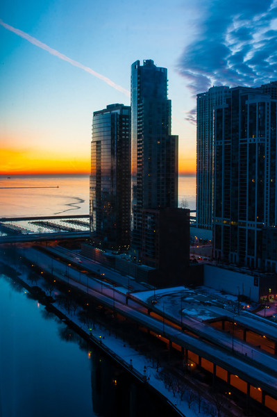 View of Lake Michigan and the Chicago river from my hotel room