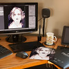 My desktop, working on prints (they do exist).