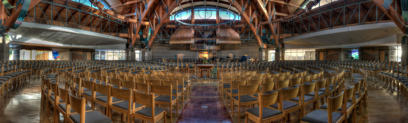 Panorama of the worship space, Christ the Redeemer Catholic church, Lake Orion.