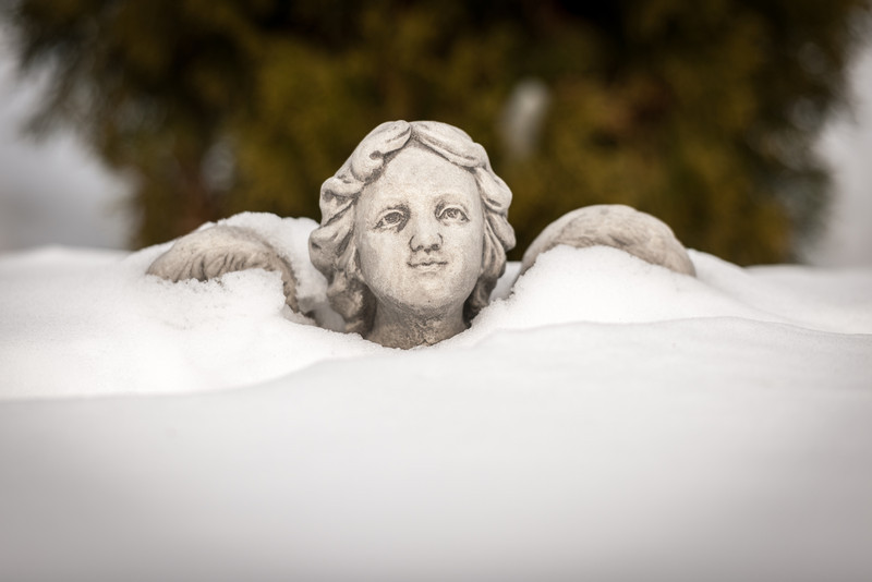 Pam's snow angel peaking out above the snow.