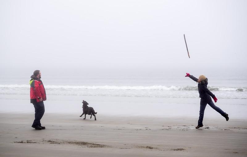 Dancer throws stick