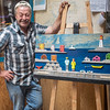 Talking of fun people to meet, this is folk artist Ben Ploughman who we visited at his studio. His wide  grin may have something to do with our purchase of the piece on the easel.