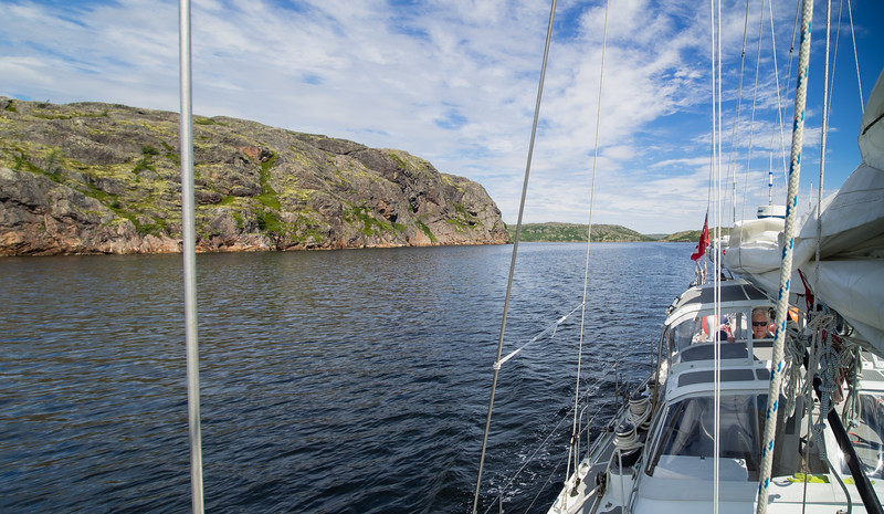 On the way back south along the Labrador coast we transited several of the inside channels that we had never had time for in past years. This is Squasho Run.