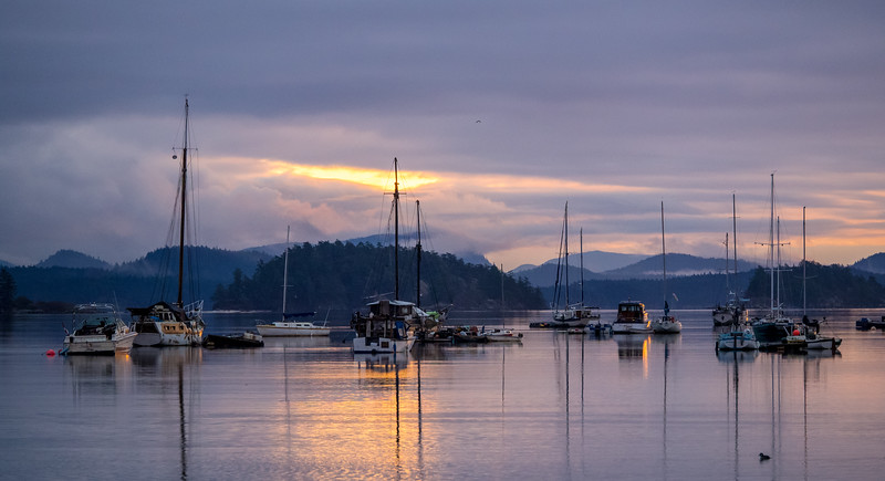 "Dawn at Ganges, Saltspring Island, B.C. Our purpose for the visit to the west coast was to decide whether or not we would like to sail ""Morgan's Cloud"" to a place where we could once again live aboard, and even cruise, all year round."