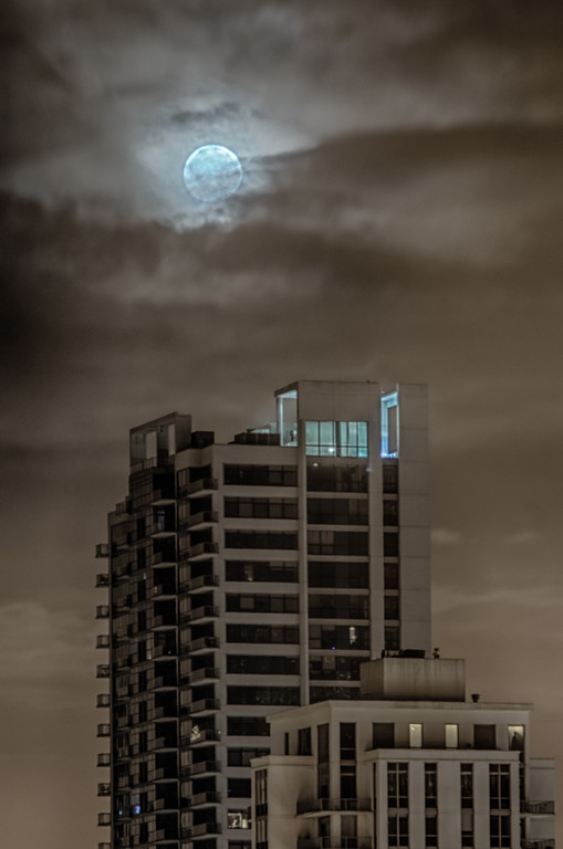Moon over Chicago Building