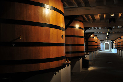 В этих цистернах держат винно (или виноградовый сок?) первые 6 месяцев.