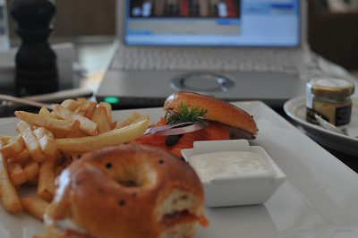 Guess how much this breakfast cost - coffee/orange juice/lox bagel/yogurt. Answer on next photo.