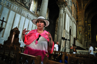 My mom explaining something about the cathedral.