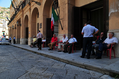Taxi drivers waiting.
