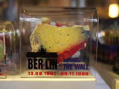 A lot of tourist shops around selling pieces of the Wall. There must be a factory somewhere in Germany making this stuff, paying overtime to workers.