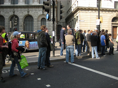 a fresh protest was brewing. bank station was closed.